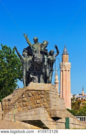 Mustafa Kemal Ataturk statue in Antalya Turkey - architecture background