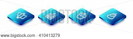 Set Isometric Line Rolling Pin On Dough, Cutting Board, Cake And Pudding Custard Icon. Vector