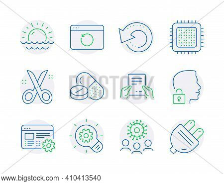 Science Icons Set. Included Icon As Medical Drugs, Cogwheel, Recovery Data Signs. Cpu Processor, Sci