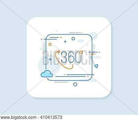 360 Degree Line Icon. Abstract Square Vector Button. Vr Technology Simulation Sign. Panoramic View S