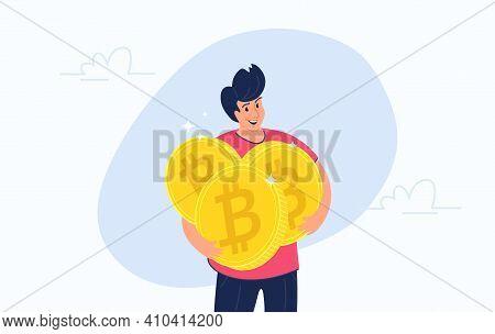 Young Happy Man Hugging Heavy Three Golden Symbols Of Bitcoin. Flat Modern Concept Vector Illustrati