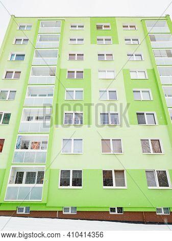 Big Condominium Apartment Block In Modern Thermal Insulation Of The Facade. Cheap Housing. Skyscrape