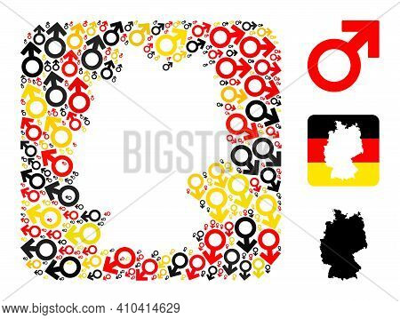German State Map Stencil Mosaic. Stencil Rounded Square Collage Designed Of Male Symbol Icons In Dif
