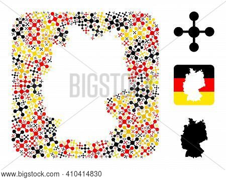 Germany Geographic Map Hole Mosaic. Hole Rounded Rectangle Collage Composed With Mesh Node Icons In