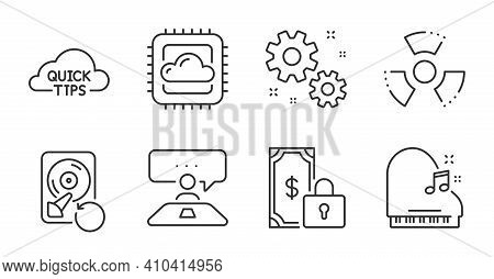 Interview Job, Quick Tips And Work Line Icons Set. Private Payment, Cloud Computing And Recovery Hdd