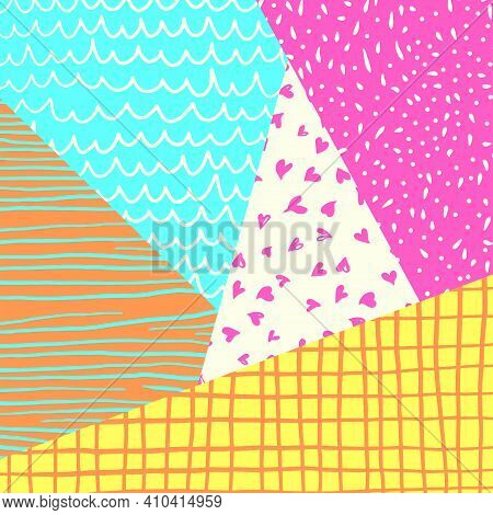 A Vibrant And Colorful Geometric Design With Doodle Patterns.