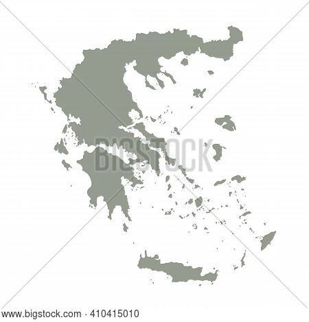 Silhouette Of Greece Country Map. Highly Detailed Editable Gray Map Of Greece, European Land Territo