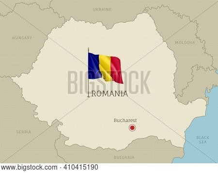 Highly Detailed Map Of Romania Territory Borders, East European Country Administrative Map With Buch