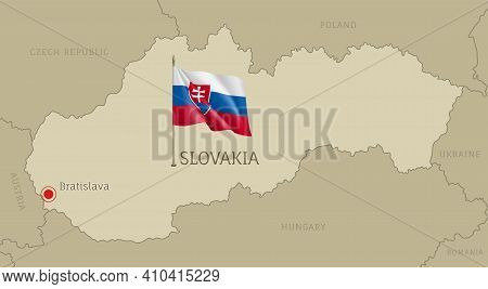 Highly Detailed Map Of Slovakia Territory Borders, East European Country Administrative Map With Bra