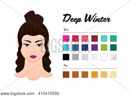 12 Seasons Color Types For Woman - Deep Winter, Dark Winter Type. Perfect Color For Your Wardrobe. D