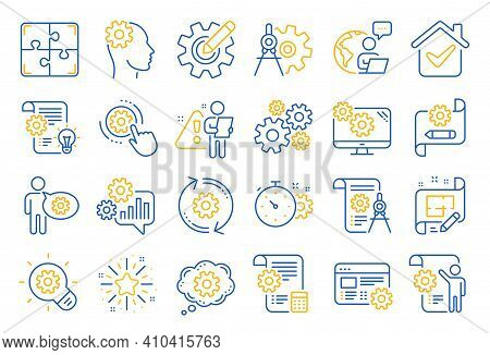 Engineering Line Icons. Set Of Idea Bulb, Dividers Tools And Blueprint Linear Icons. Cogwheel, Calcu