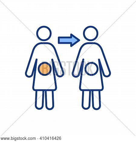 Human Fertilization Rgb Color Icon. Conception, Ovulation, Pregnancy. Embryo Growth. Implantation Fe