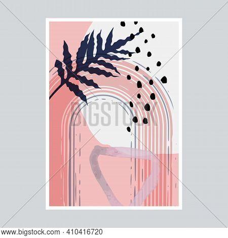 Modern Trendy Mid Century Abstract Composition. Geometric Textured Wall Art. Scandinavian Abstract B