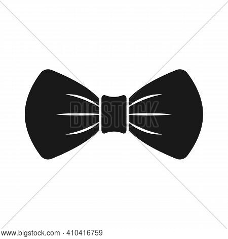 Bow Tie Icon. Black Formal Male Neck Tie Symbol Isolated On White Background. Vector Illustration.
