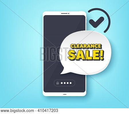 Clearance Sale Symbol. Mobile Phone With Alert Notification Message. Special Offer Price Sign. Adver