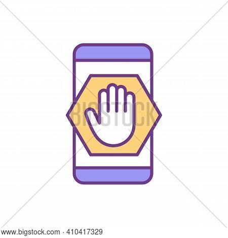 Phone Addiction Decreasing Rgb Color Icon. Setting Limits. Increasing Concentration. Mobile Phone Ov