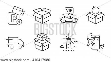 Packing Boxes, Lighthouse And Parking Security Line Icons Set. Vip Transfer, Flight Destination And