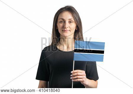Happy Young White Girl Holding Botswana Flag Isolated On A White Background.
