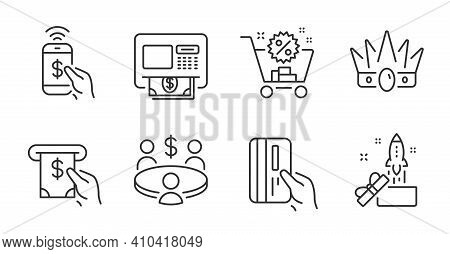 Meeting, Atm And Atm Service Line Icons Set. Payment Card, Innovation And Phone Payment Signs. Crown