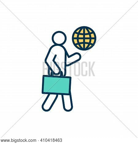 Business Traveller Rgb Color Icon. Journey For Professional Duties Fulfilling. Corporate Travel. Wif