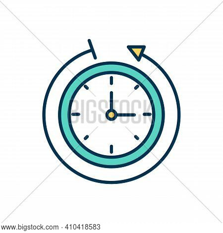 Time Tracking Rgb Color Icon. Daily Schedule, Routine. Worked Hours Measurement. Time Allocation Aut