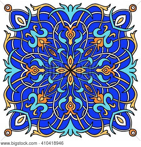 Mandala Colored Majolica, Great Design For Any Purposes. Seamless Pattern. Card Background. Floral W