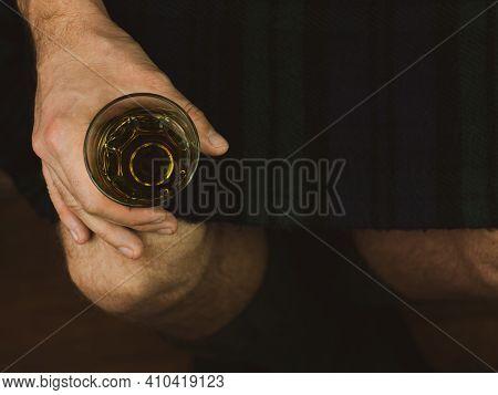 Irish Man In Green Kilt Celebrating St. Patrick's Day With Scotch Drink Glass In Hand Scottish Guy D
