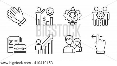 Employees Teamwork, Vacancy And Clapping Hands Line Icons Set. Employees Wealth, Employee Result And