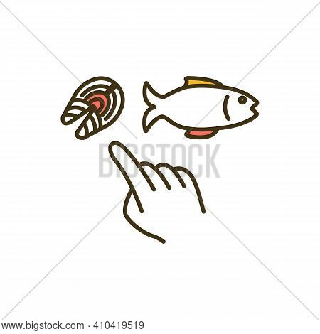Eating Fish Rgb Color Icon. High-protein Meal. Nutrient-dense Foods. Boosting Brain Health. Dietary