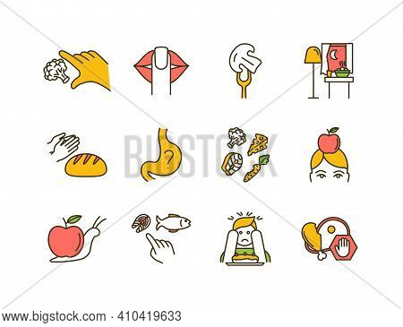 Conscious Nutrition Rgb Color Icons Set. Promoting Health Habits. Taking Small Bites. Uncontrolled E