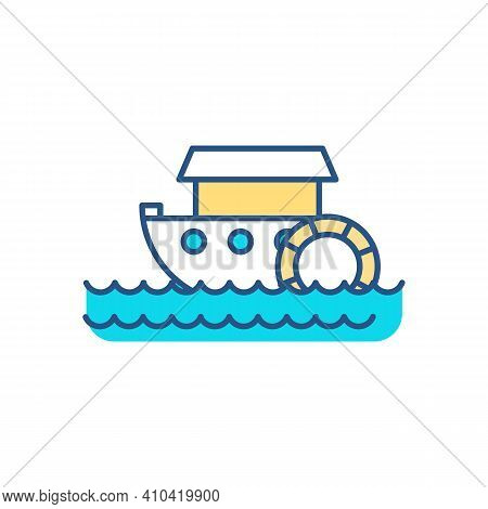 Paddle-wheel Boat Rgb Color Icon. Small Vessel For Travel. Recreational Boating. Paddle Steamer. Ste