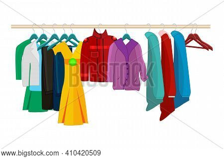 Clothes On Hangers Isolated On White Background. Clothes And Accessories Fashion Set. Racks With Dif