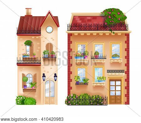 Vector Buildings Facades, Vintage Cottages, Old Town Houses Isolated On White, Rooftops, Windows. Eu
