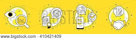 Magistrates Court, Diagram Chart And New Mail Line Icons Set. Licence, Cell Phone And Deal Vector Ic