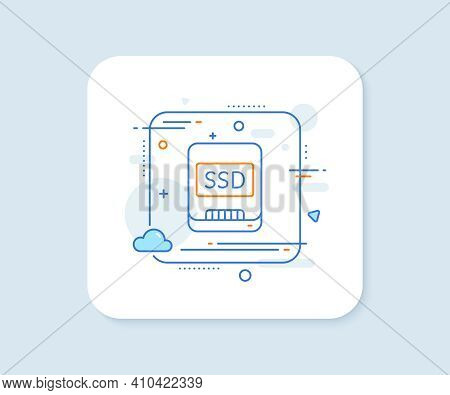 Ssd Line Icon. Abstract Square Vector Button. Computer Memory Component Sign. Data Storage Symbol. S