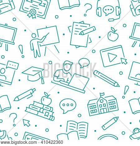 Online Education Seamless Pattern. Vector Background Included Line Icons As Laptop, Student, Persona