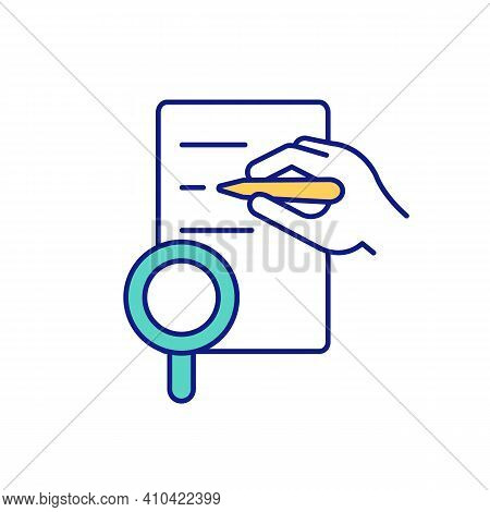 Recording Of Research Results In Natural Conditions Green Rgb Color Icon. Records And Materials Publ