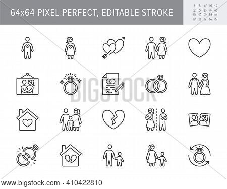 Relationship Status Line Icons. Vector Illustration Include Icon - Husband, Bachelor, Wife, Marriage