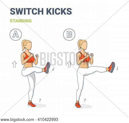 Switch Kicks Female Home Workout Exercise Guidance. Athletic Girl Doing Kicks Switching Legs Routine