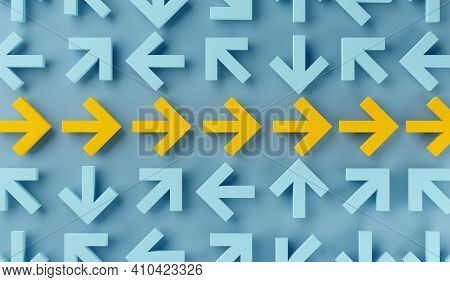 Many Arrows Pointing In Different Directions With Arrows In The Middle Forming Straight Path Over Bl