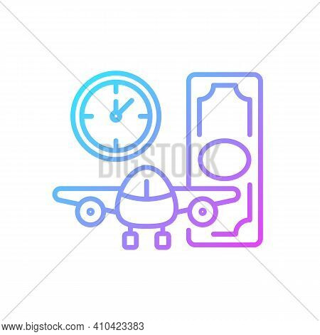 Aircraft Rental Gradient Linear Vector Icon. Civil Aviation. Ability To Get Plane For Rent. Light Ai
