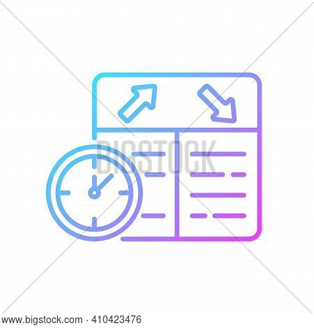 Flight Scheduling Gradient Linear Vector Icon. The Ability To Plan Trips. Compliance With The Schedu