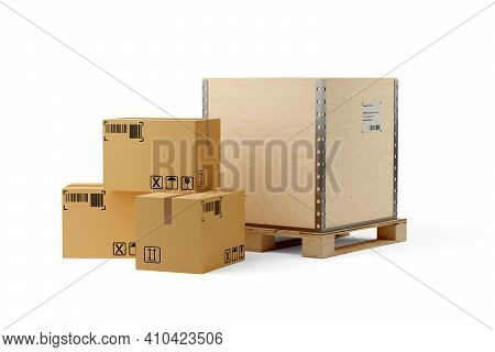 Single Wooden Transportation Crate On Wooden Pallet And Carton Cardboard Boxes Over White Background