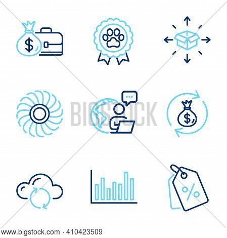 Business Icons Set. Included Icon As Salary, Cloud Sync, Money Exchange Signs. Discount Tags, Dog Co