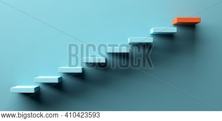 Blue Stairs Leading To Orange Top Step, Success, Top Level Or Career Minimal Modern Concept, 3d Illu
