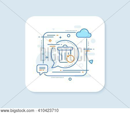 Recovery Trash Bin Line Icon. Abstract Square Vector Button. Backup Data Sign. Restore Information S