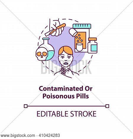 Contaminated Or Poisonous Pills Concept Icon. Online Pharmacy Idea Thin Line Illustration. Unregiste