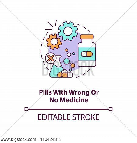 Pills With Wrong Or No Medicine Concept Icon. Online Pharmacy Idea Thin Line Illustration. Unregiste