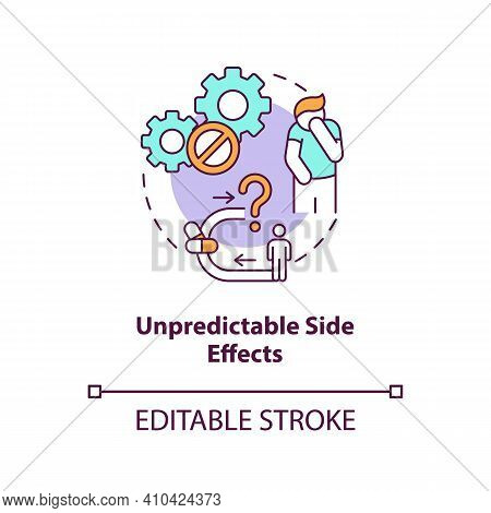 Unpredictable Side Effects Concept Icon. Online Pharmacy Idea Thin Line Illustration. Unregistered P