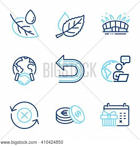 Business Icons Set. Included Icon As Savings, Reject Refresh, Leaf Dew Signs. Global Business, Undo,